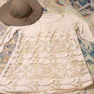 Anthropologie BoHo cream tunic Size Large